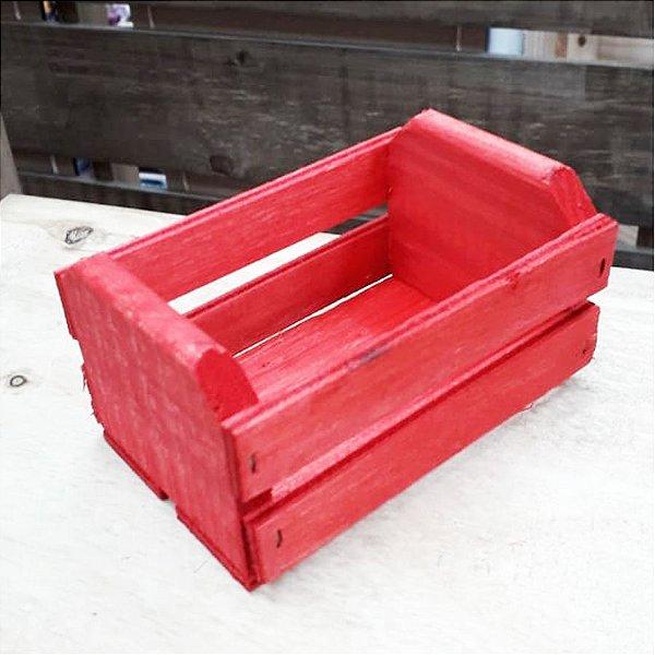 Mini Caixote Madeira - Vermelho 8x12cm - Rizzo Embalagens