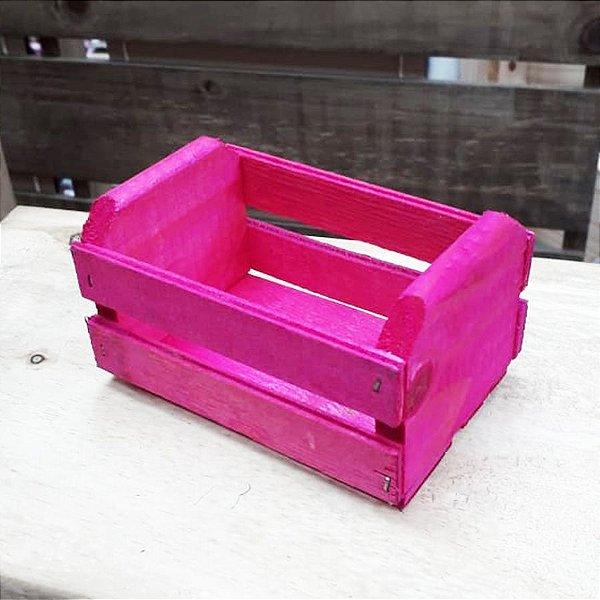 Mini Caixote Madeira - Rosa 8x12cm - Rizzo Embalagens