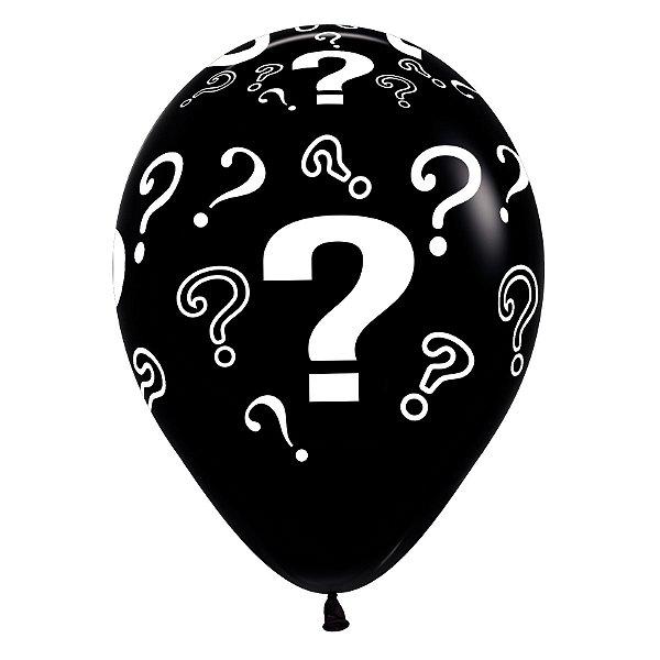 Balão de Festa Latex R12'' 30cm - Fashion Interrogação Preto - 60 unidades - Sempertex Cromus - Rizzo Festas