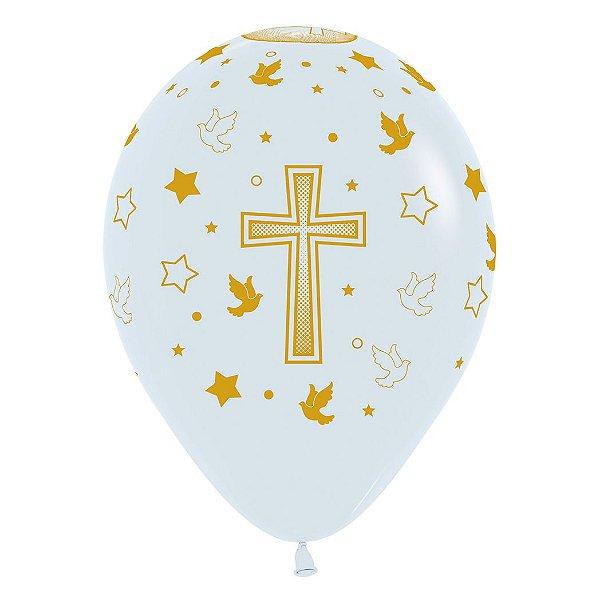 Balão de Festa Latex R12'' 30cm - Fashion Comunhão - 60 unidades - Sempertex Cromus - Rizzo Festas