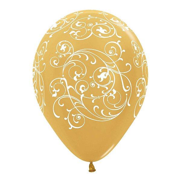 Balão de Festa Latex R12'' 30cm - Metal Arabesco Filigree Dourado - 60 unidades - Sempertex Cromus - Rizzo Festas
