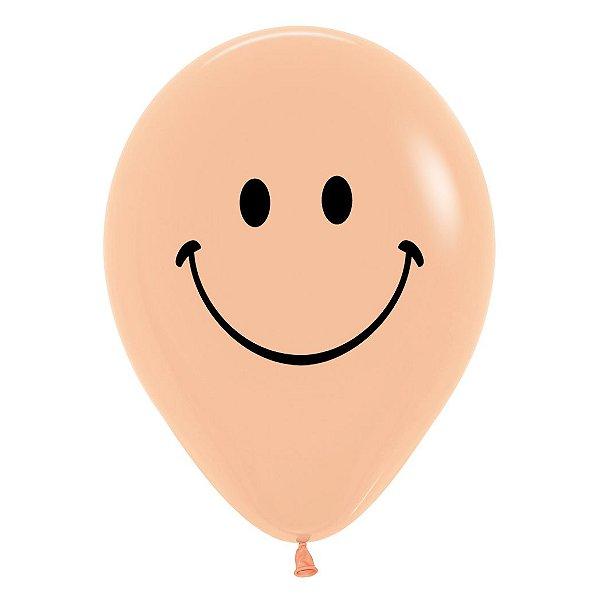 Balão de Festa Latex R12'' 30cm - Fashion Carinha Feliz Pêssego - 12 unidades - Sempertex Cromus - Rizzo Festas