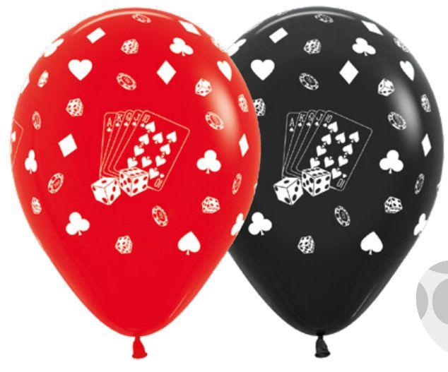 Balão de Festa Latex R12'' 30cm - Fashion Cassino Composê - 60 unidades - Sempertex Cromus - Rizzo Festas