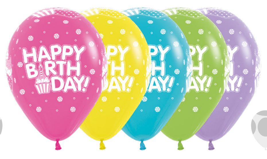 Balão de Festa Latex R12'' 30cm - Fashion Happy Birthday Cupcake Sortido - 60 unidades - Sempertex Cromus - Rizzo Festas