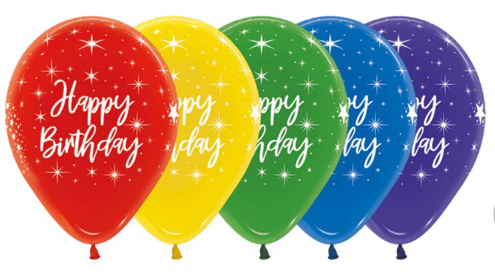 Balão de Festa Latex R12'' 30cm - Fashion Happy Birthday Radiante Sortido - 60 unidades - Sempertex Cromus - Rizzo Festas