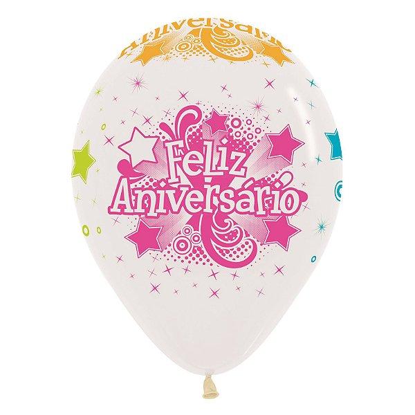 Balão de Festa Latex R12'' 30cm - Cristal Neon Feliz Aniversário - 60 unidades - Sempertex Cromus - Rizzo Festas