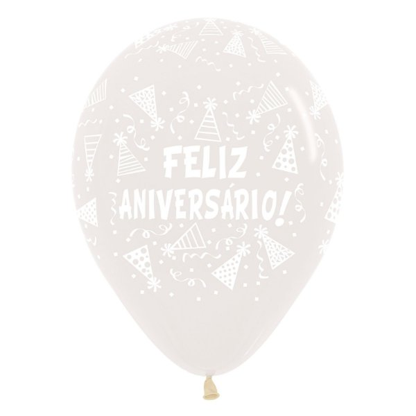 Balão de Festa Latex R12'' 30cm - Cristal Feliz Aniversário Gorro - 60 unidades - Sempertex Cromus - Rizzo Festas