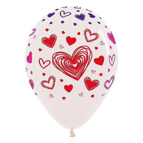 Balão de Festa Latex R12'' 30cm - Cristal Corações 3 Tintas - 60 unidades - Sempertex Cromus - Rizzo Festas