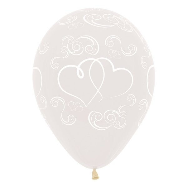 Balão de Festa Latex R12'' 30cm - Cristal Corações Cruzados - 60 unidades - Sempertex Cromus - Rizzo Festas