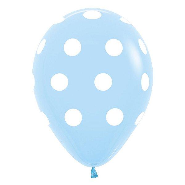 Balão de Festa Latex R12'' 30cm - Polka Dot Fashion Azul Celeste - 60 unidades - Sempertex Cromus - Rizzo Festas