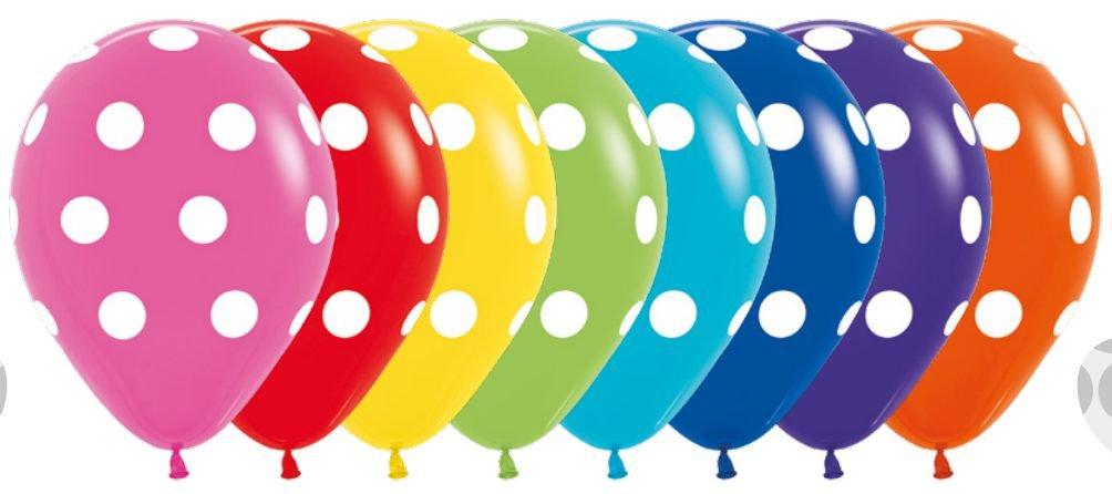 Balão de Festa Latex R12'' 30cm - Polka Dot Fashion Sortido - 60 unidades - Sempertex Cromus - Rizzo Festas