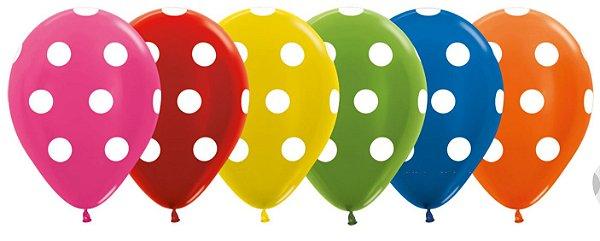 Balão de Festa Latex R12'' 30cm - Polka Dot Metal Sortido - 60 unidades - Sempertex Cromus - Rizzo Festas