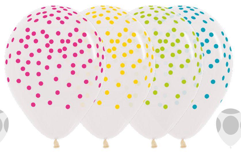 Balão de Festa Latex R12'' 30cm - Confetti Cristal Sortido - 60 unidades - Sempertex Cromus - Rizzo Festas