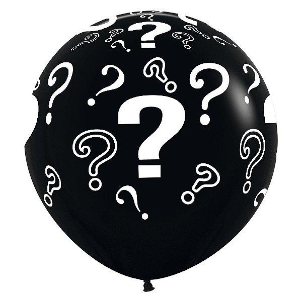Balão de Festa Latex R36'' 91,5cm - Fashion Interrogação Preto - 02 unidades - Sempertex Cromus - Rizzo Festas
