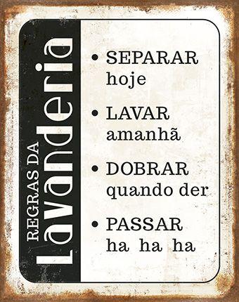 Plaquinha de MDF Regras da Lavanderia... 19x24cm - 01 unidade - LitoArte - Rizzo Embalagens