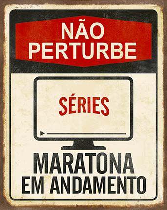 Plaquinha de MDF Não Perturbe Maratona... 19x24cm - 01 unidade - LitoArte - Rizzo Embalagens