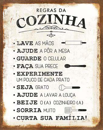 Plaquinha de MDF Regras da Cozinha... 19x24cm - 01unidade - LitoArte - Rizzo Embalagens