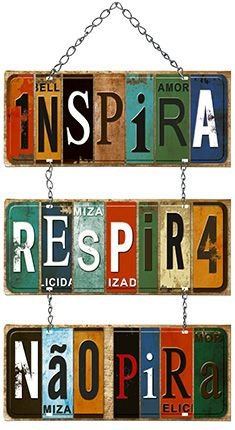 Plaquinha de MDF com Corrente - Inspira... 29,5x55cm - 01 unidade - LitoArte - Rizzo Embalagens