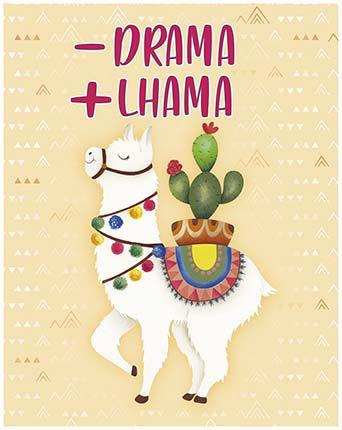 Plaquinha de MDF - Drama + Lhama 19x24cm - 01 unidade - LitoArte - Rizzo Embalagens