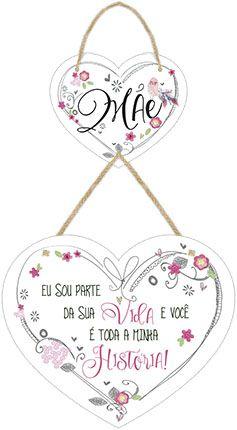 Plaquinha Decorativa MDF Coração Mãe - LitoArte - Rizzo Embalagens