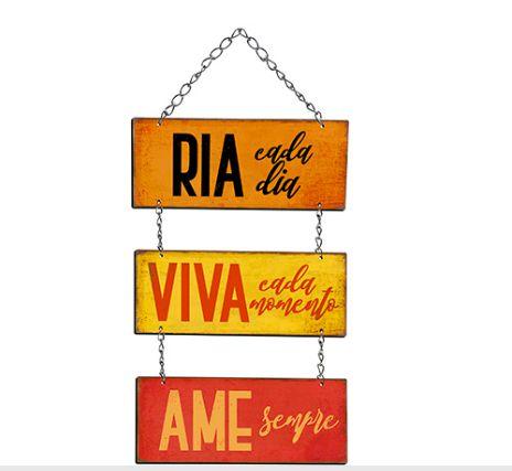 Plaquinha Decorativa MDF Ria Cada Dia... - LitoArte - Rizzo Embalagens