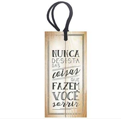 Tag Decorativa MDF Nunca Desista - LitoArte - Rizzo Embalagens