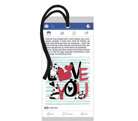 Tag Decorativa MDF Facebook Love You... - LitoArte - Rizzo Embalagens