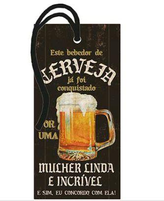Tag Decorativa MDF Bebedor de Cerveja - LitoArte - Rizzo Embalagens