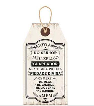 Plaquinha de MDF Santo Anjo ... 19x35cm - 01 unidade - LitoArte - Rizzo Embalagens