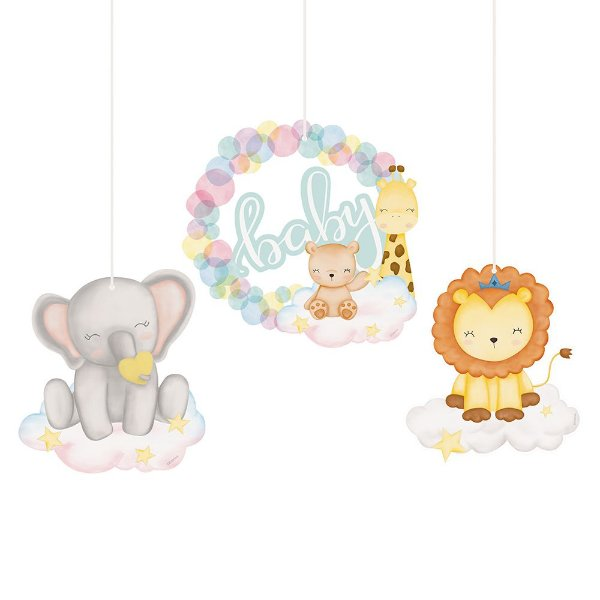Móbiles Decorativos Festa Bichinhos Baby - 03 unidades - Cromus - Rizzo Festas