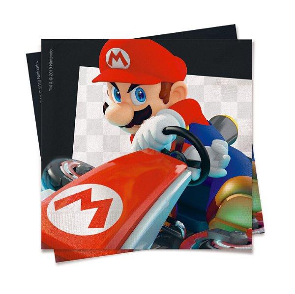 Guardanapo Festa Mario Kart Branco - 20 unidades - Cromus - Rizzo Festas
