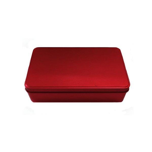 Lata Retangular para Lembrancinha Vermelha - 11,5 x 19cm - Artegift - Rizzo Embalagens