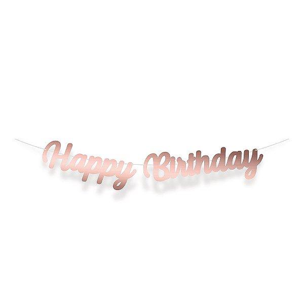 Faixa Decorativa Happy Birthday Festa Rose Gold - Cromus - Rizzo Festas