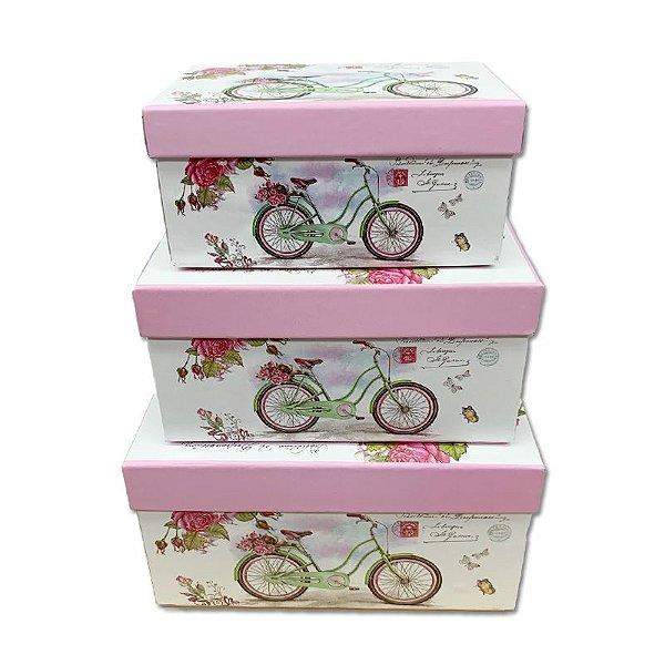 Kit Caixa Presente Bicicleta com Flores - 15,5x11x8cm - 3 Unidades - Rizzo Festas