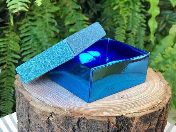 Caixa Presente Retangular com Tampa de Glitter Azul - 7x9,5x4cm - 12 Unidades - Artlille Rizzo Festas
