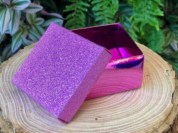 Caixa Presente Quadrada com Tampa de Glitter Lilás - 6,5x6,5x4cm - 12 Unidades - Artlille Rizzo Festas