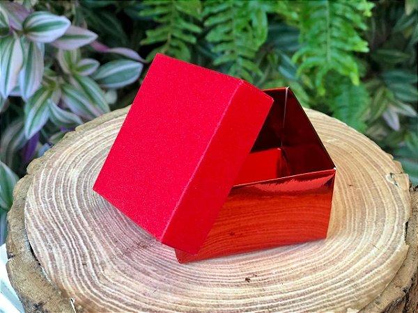 Caixa Presente Quadrada com Tampa de Glitter Vermelho - 6,5x6,5x4cm - 12 Unidades - Artlille Rizzo Festas