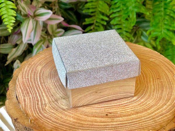 Caixa Presente Quadrada com Tampa de Glitter Prata - 6,5x6,5x4cm - 12 Unidades - Artlille Rizzo Festas