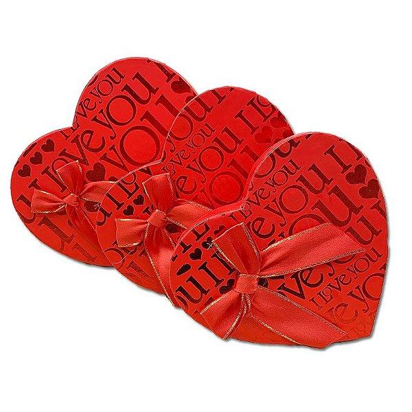 Kit Caixa Presente Coração Vermelho- 21x19x9cm - 3 Unidades - Rizzo Festas