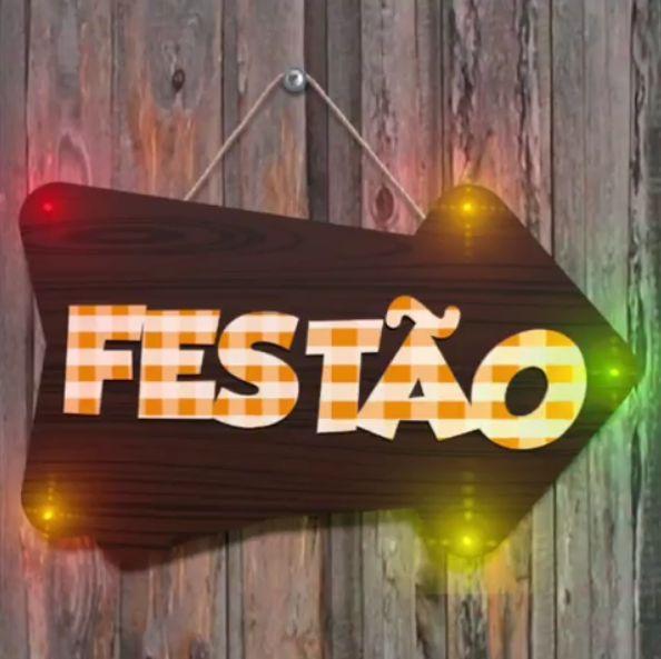 Plaquinha Decorativa com Led Festa Junina em MDF Festão - 1 unidade - Grintoy - Rizzo Festas