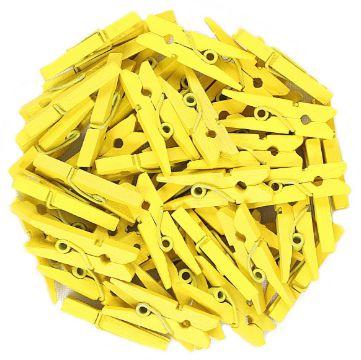 Mini Prendedor de Madeira Amarelo 2,5cm - 50 Unidades - Rizzo Festas