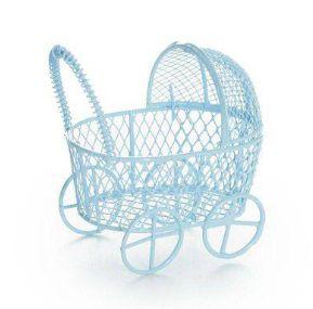 Mini Carrinho de Bebê Aramado Azul Claro 6,5cm - 1 unidade - Rizzo Festas