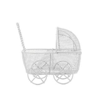 Mini Carrinho de Bebê Aramado Branco 6,5cm - 1 unidade - Rizzo Festas