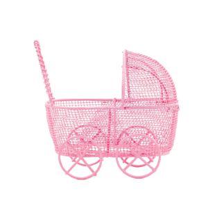 Mini Carrinho de Bebê Aramado Rosa 6,5cm - 1 unidade - Rizzo Festas