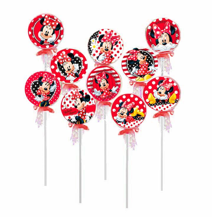 Pirulito Lembrancinha Festa Minnie - 10 unidades - Rizzo Festas