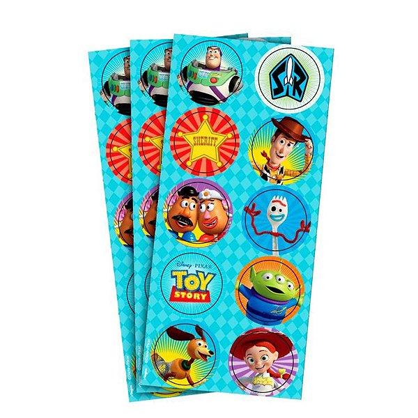 Adesivo Redondo para Lembrancinha Festa Toy Story 4 - 30 unidades - Regina - Rizzo Festas