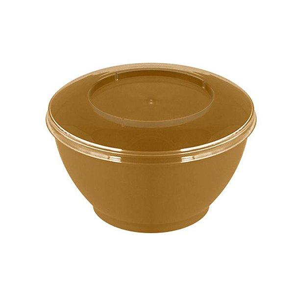 Pote redondo Dourado com tampa 100ml - 10 unidades - Strawplast - Rizzo Embalagens