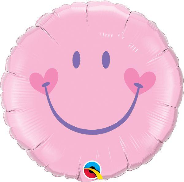 Balão Metalizado Sorridente Encantadora Rosa - 18'' - Qualatex - Rizzo festas