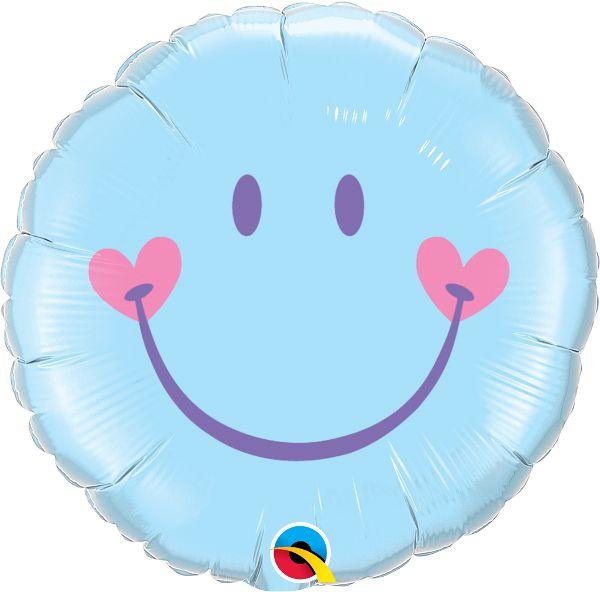 Balão Metalizado Sorridente Encantadora Azul - 18'' - Qualatex - Rizzo festas