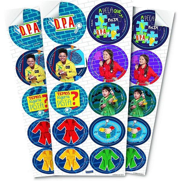 Adesivo Redondo para Lembrancinha Festa DPA Detetives do Prédio Azul - 30 unidades - Festcolor - Rizzo Festas